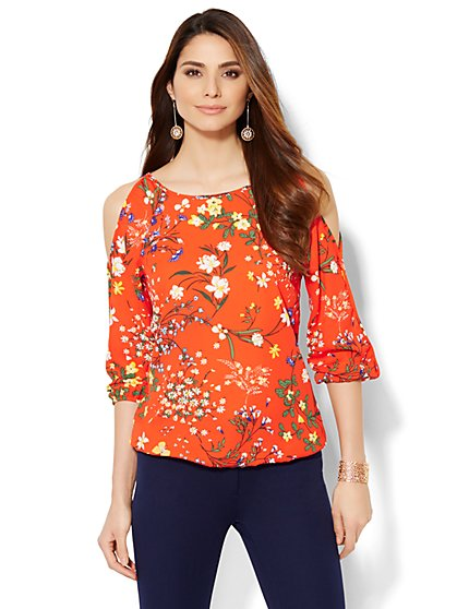 7th Avenue Design Studio - Cold-Shoulder Blouse - Floral  - New York & Company
