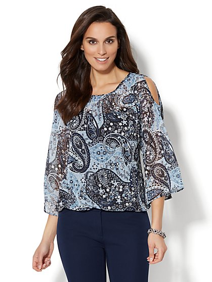 7th Avenue Design Studio - Cold-Shoulder Blouse - Metallic Paisley Print - New York & Company