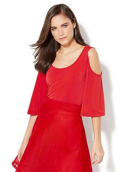 7th Avenue Design Studio - Cold-Shoulder Scoopneck Top - New York & Company