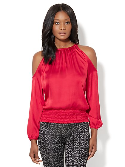 7th Avenue Design Studio - Cold-Shoulder Smocked Blouse - New York & Company