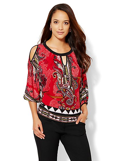 7th Avenue Design Studio - Cold-Shoulder Top - Flamenco Red  - New York & Company
