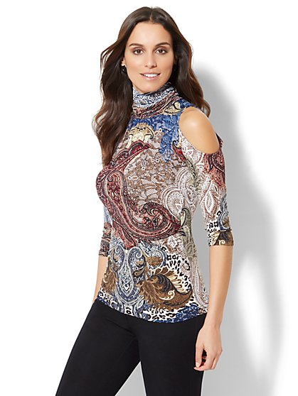7th Avenue Design Studio - Cold-Shoulder Turtleneck - Mixed Print - New York & Company