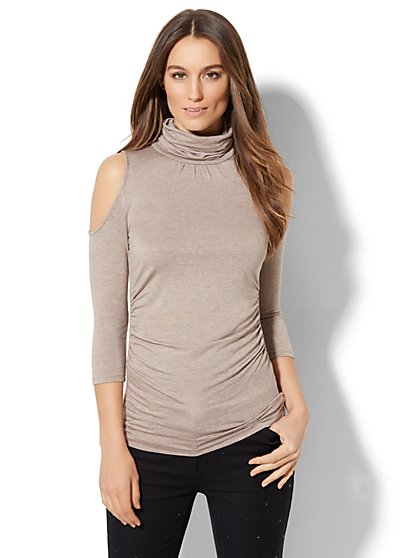7th Avenue Design Studio - Cold-Shoulder Turtleneck Sweater - New York & Company