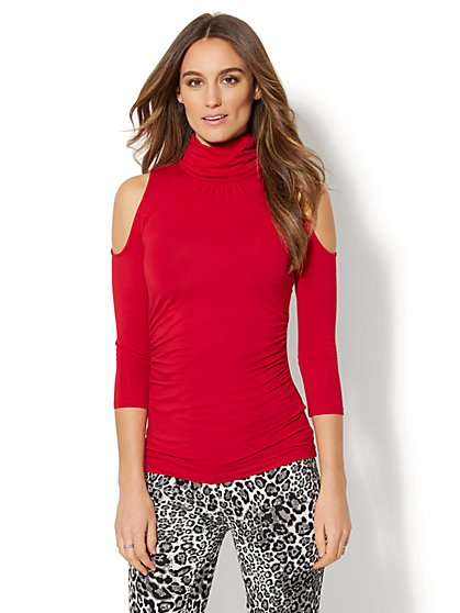 7th Avenue Design Studio - Cold-Shoulder Turtleneck - New York & Company