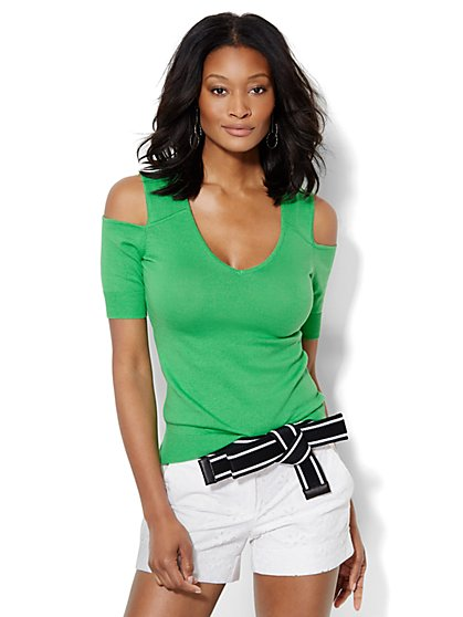 7th Avenue Design Studio - Cold-Shoulder V-Neck Pullover  - New York & Company