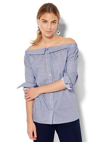 7th Avenue Design Studio - Collared Off-The-Shoulder Shirt - Pinstripe - New York & Company