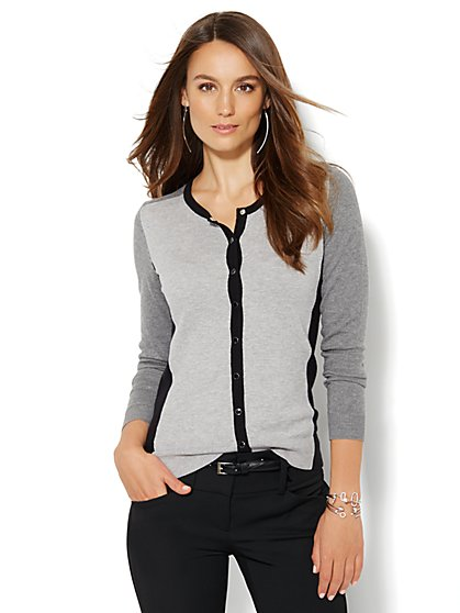 7th Avenue Design Studio - Colorblock Chelsea Cardigan - Petite  - New York & Company