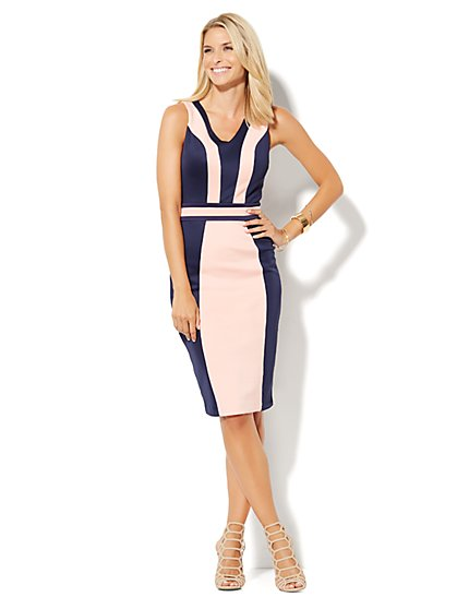 7th Avenue Design Studio - Colorblock Midi Sheath Dress - Petite - New York & Company