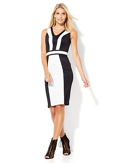 7th Avenue Design Studio - Colorblock Midi Sheath Dress  - New York & Company