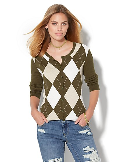 7th Avenue Design Studio - Crewneck Chelsea Cardigan - Argyle - Petite  - New York & Company