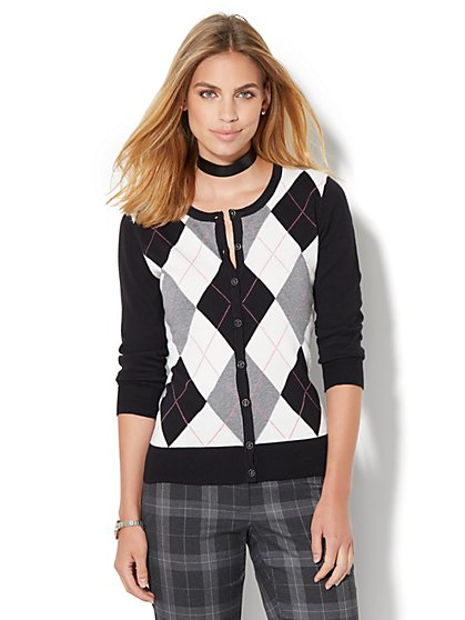7th Avenue Design Studio - Crewneck Chelsea Cardigan - Argyle  - New York & Company