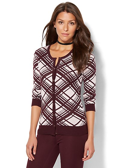 7th Avenue Design Studio - Crewneck Chelsea Cardigan - Linear Print  - New York & Company