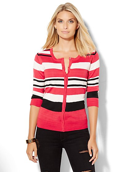 7th Avenue Design Studio - Crewneck Chelsea Cardigan - Stripe  - New York & Company
