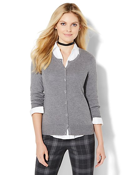 7th Avenue Design Studio - Crewneck Chelsea Cardigan  - New York & Company