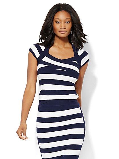 7th Avenue Design Studio Crossover Striped Sweater  - New York & Company