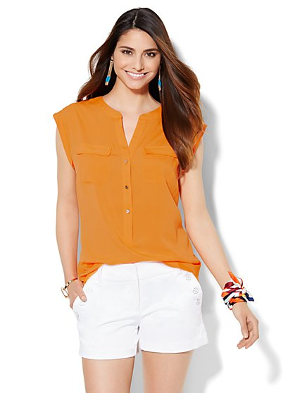 7th Avenue Design Studio - Double Pocket Blouse - New York & Company