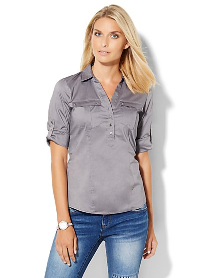 7th Avenue Design Studio - Double-Pocket Popover Shirt  - New York & Company