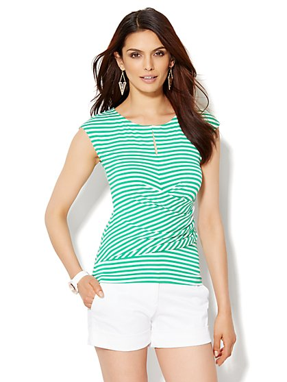 7th Avenue Design Studio - Draped Keyhole Tee - Stripe  - New York & Company