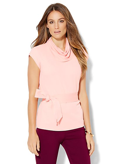 7th Avenue Design Studio - Draped-Neck Belted Top  - New York & Company