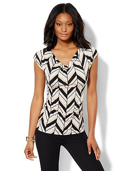 7th Avenue Design Studio - Draped Tee - Print  - New York & Company