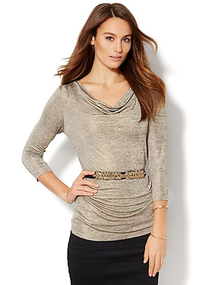 7th Avenue Design Studio - Draped Top - Gold  - New York & Company