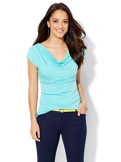 7th Avenue Design Studio - Draped Top - Solid  - New York & Company