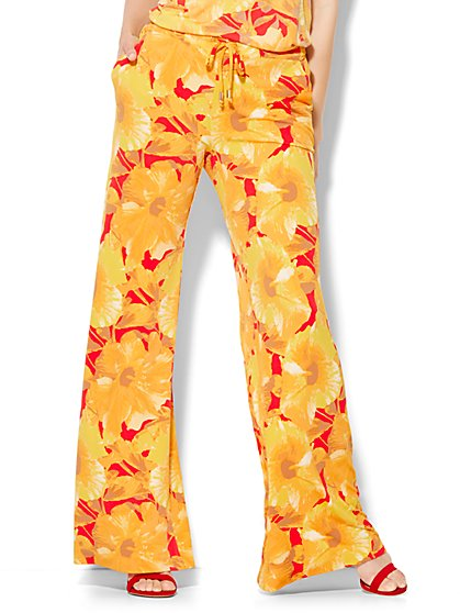 7th Avenue Design Studio - Drawstring Palazzo Pant - Floral - New York & Company
