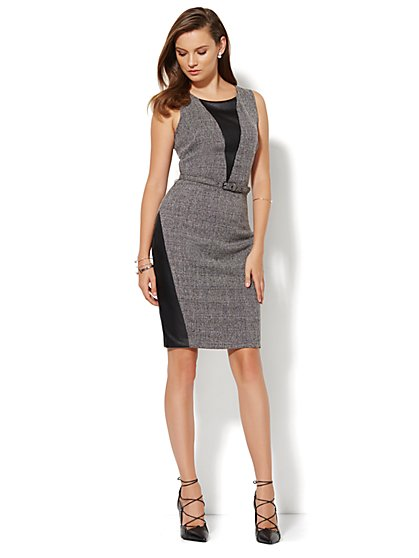 7th Avenue Design Studio Faux-Leather Accent Tweed Sheath Dress - Petite - New York & Company