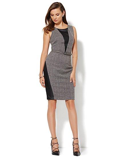 7th Avenue Design Studio Faux-Leather Accent Tweed Sheath Dress - Petite - New York & Company