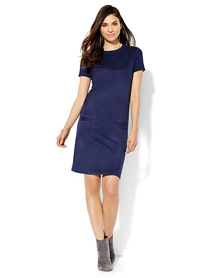 7th Avenue Design Studio - Faux-Suede Front Shift Dress  - New York & Company
