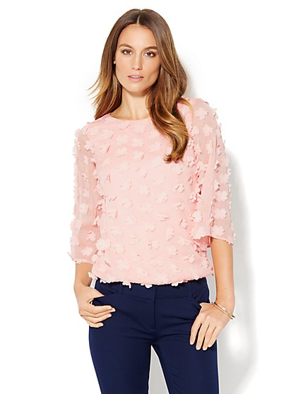 7th Avenue Design Studio - Floral Appliqué Blouse  - New York & Company
