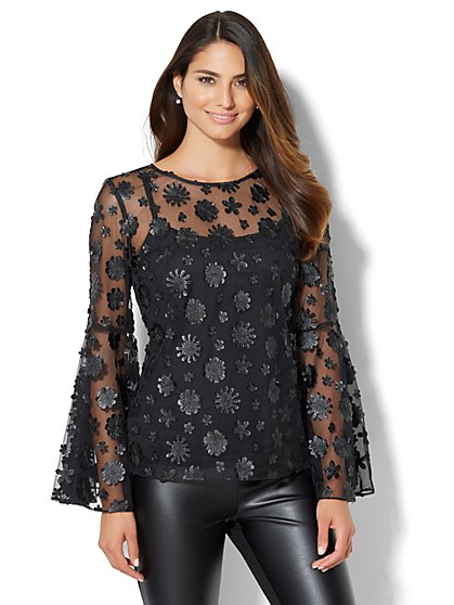 7th Avenue Design Studio - Floral Applique Blouse  - New York & Company