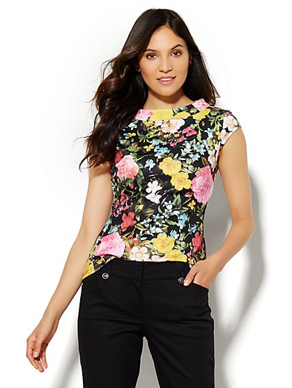 7th Avenue Design Studio - Floral Funnel-Neck Top - Petite   - New York & Company