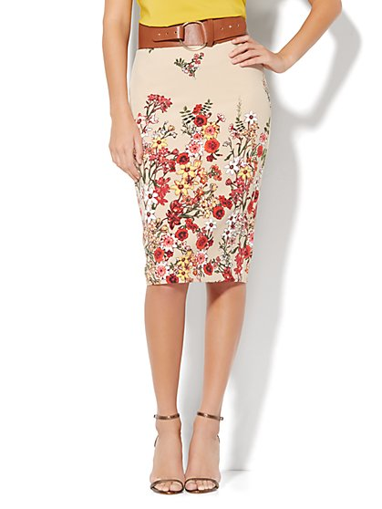 7th Avenue Design Studio Floral Pencil Skirt  - New York & Company