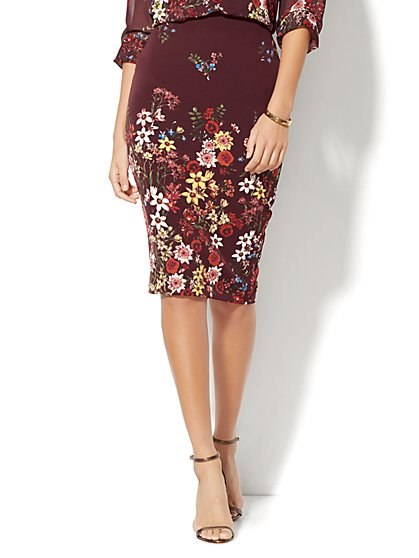 7th Avenue Design Studio Floral Pencil Skirt  - New York & Company