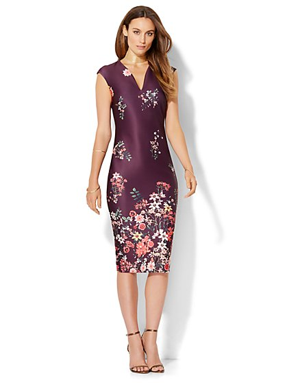 7th Avenue Design Studio Floral Sheath Dress - Petite  - New York & Company