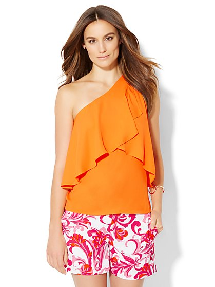 7th Avenue Design Studio - Flounced One-Shoulder Top  - New York & Company