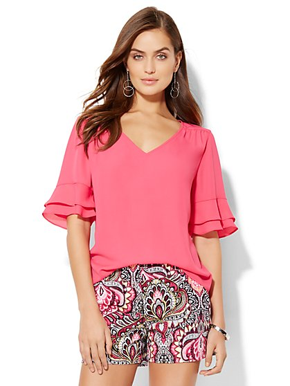 7th Avenue Design Studio - Flutter-Sleeve V-Neck Blouse  - New York & Company