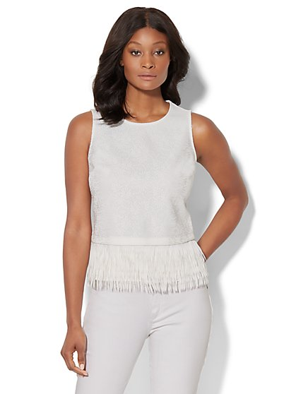 7th Avenue Design Studio - Fringed Peplum Top - New York & Company