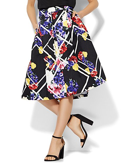 7th Avenue Design Studio - Full Pleated Skirt - Graphic Floral Print - New York & Company