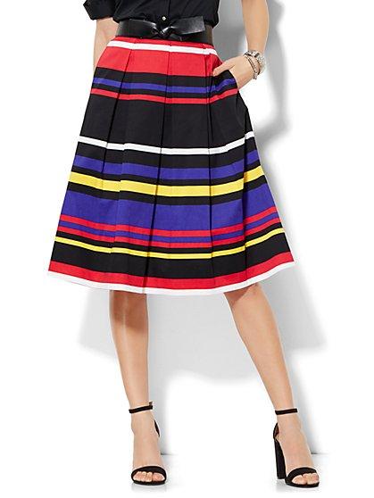 7th Avenue Design Studio - Full Pleated Skirt - Stripe  - New York & Company