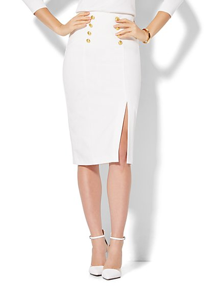 7th Avenue Design Studio - Goldtone Button-Accent Pencil Skirt - White  - New York & Company