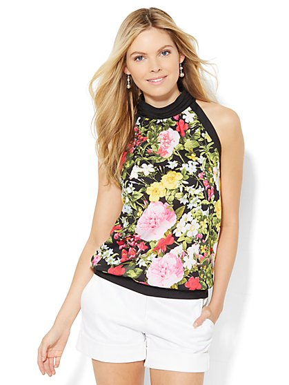 7th Avenue Design Studio - Halter Blouse - Floral  - New York & Company
