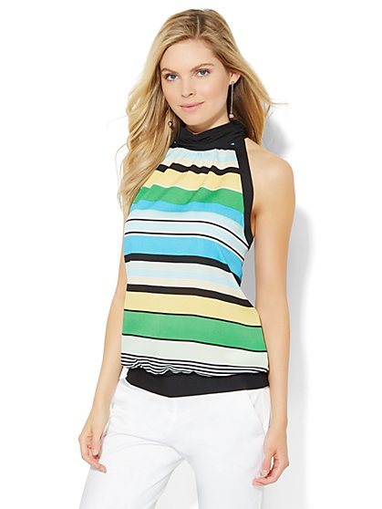 7th Avenue Design Studio - Halter Blouse - Stripe  - New York & Company