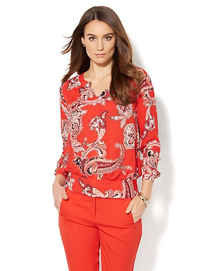 7th Avenue Design Studio - Hardware-Accent Blouse - Print  - New York & Company