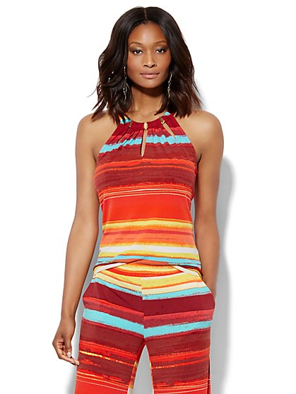 7th Avenue Design Studio - Hardware-Accent Halter Top - Abstract Stripe  - New York & Company