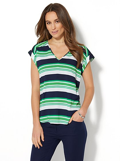 7th Avenue Design Studio - Hi-Lo Blouse - Stripe - New York & Company