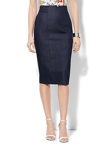 7th Avenue Design Studio High Waisted Pencil Skirt - Signature Fit - Hidden Blue  - New York & Company