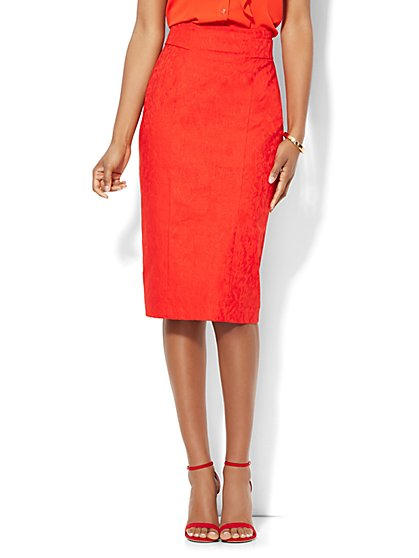 7th Avenue Design Studio High Waisted Pencil Skirt - Signature Fit - Jacquard - New York & Company