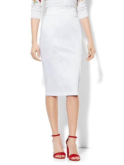 7th Avenue Design Studio High Waisted Pencil Skirt - Signature Fit - Optic Twill - Petite - New York & Company